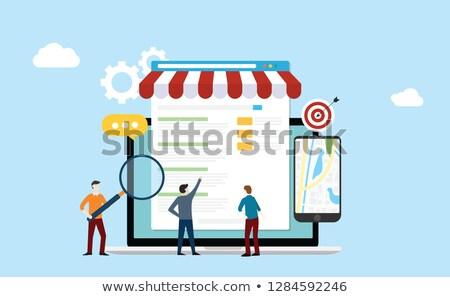 Local comercialización línea de trabajo portátil Screen Foto stock © tashatuvango