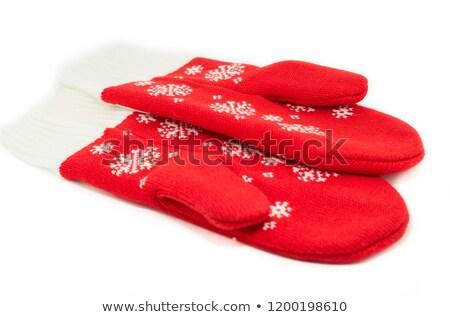 Rosso maglia muffole bianco texture Foto d'archivio © RuslanOmega
