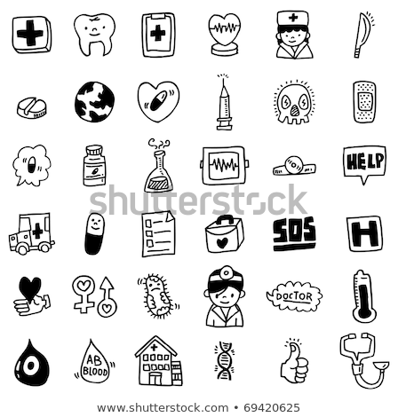 Cross shape with medical doodle icons Stock photo © netkov1