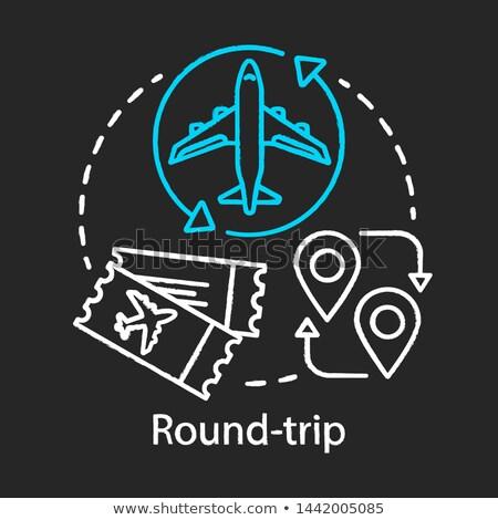 landing aircraft icon drawn in chalk stock photo © rastudio