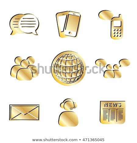 Globe Sign Golden Vector Icon Button Stock photo © rizwanali3d