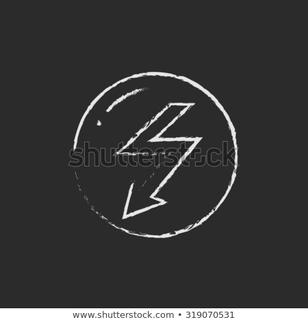 Lightning arrow downward icon drawn in chalk. Stock photo © RAStudio
