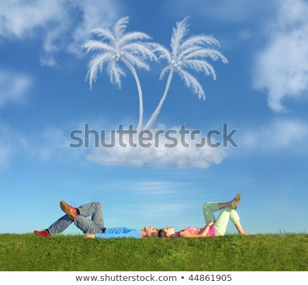 lying couple on grass and dream island collage stock photo © paha_l