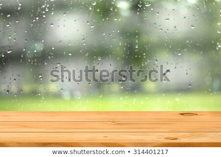 blue wooden planks with rain drops Stock photo © morrbyte