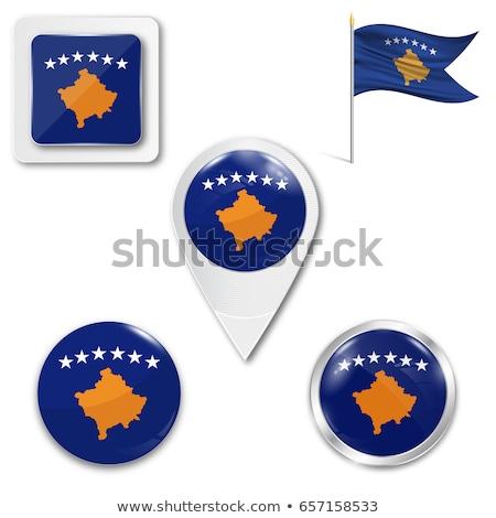 Praça pin bandeira Kosovo isolado branco Foto stock © MikhailMishchenko