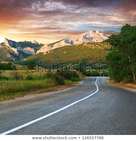 Route montagne nuageux été jour ciel Photo stock © Lizard