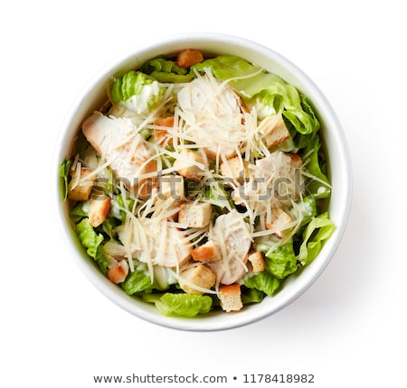 tazón · pollo · ensalada · cesar · huevo · espacio · verde - foto stock © art9858