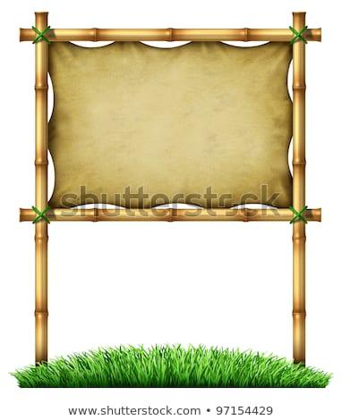 Bambusz keret nyújtott vászon izolált fehér Stock fotó © Winner