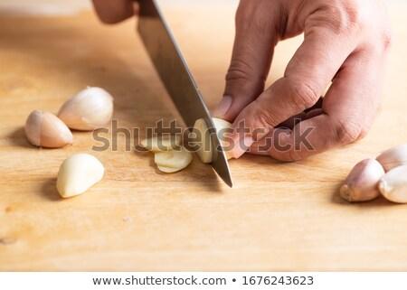 ニンニク · ナイフ · 食品 · 鋼 · 料理 · 新鮮な - ストックフォト © pressmaster