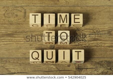 Relógio palavra mesa de madeira escritório tempo caderno Foto stock © fuzzbones0