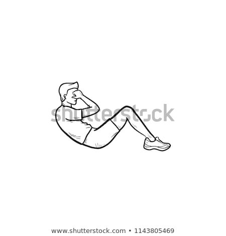 Man doing abdominal crunches sketch icon. Stock photo © RAStudio