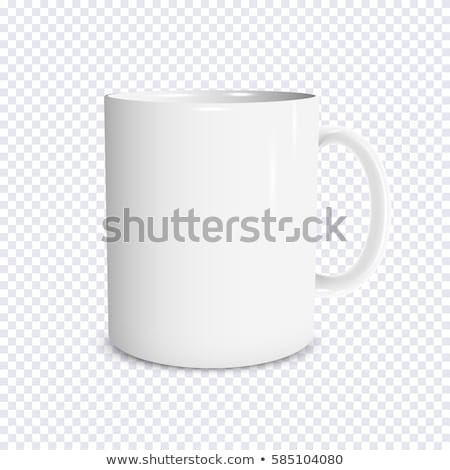 Mug plein grains de café blanche café feuille Photo stock © bluering