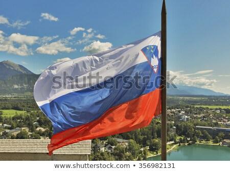Slovenian national flag fluttering over Lake Bled Stock photo © m_pavlov