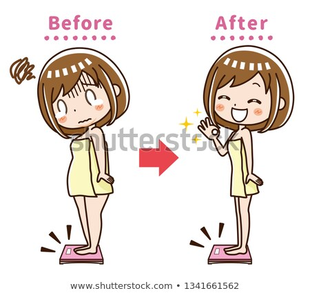 Before and after weight loss woman standing on scale. Weight loss tips, fitness and healthy diet vec Stock photo © maia3000