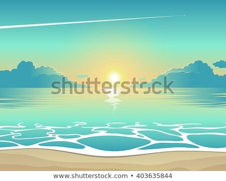 vector · zee · avond · zonsondergang · zon · illustratie - stockfoto © carodi