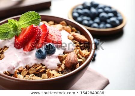 Granola gyümölcsök reggeli édes kiwi étel Stock fotó © M-studio