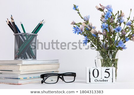 Five pencils on the white table Stock photo © CaptureLight