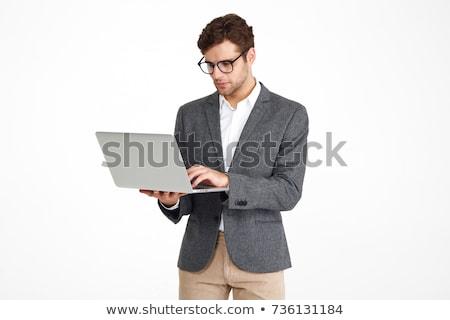 vista · lateral · retrato · masculino · nerd · em · pé · cinza - foto stock © dolgachov