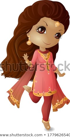 Menina amarelo rosa traje ilustração sorrir Foto stock © bluering
