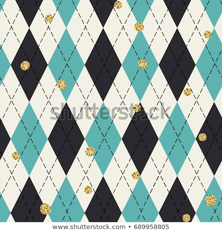 Seamless argyle pattern with chaotic golden dots. Traditional di Stock photo © pashabo