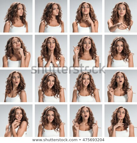 establecer · jóvenes · retratos · diferente · feliz · emociones - foto stock © master1305