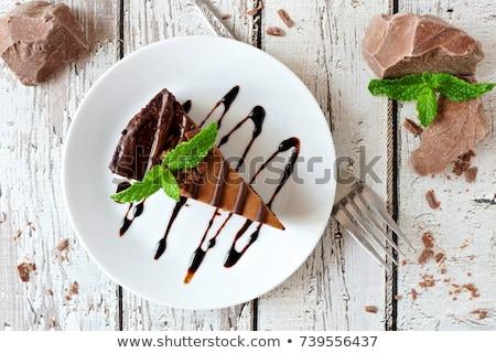 Szelet csokoládés sütemény sajt krém fából készült vágódeszka Stock fotó © Digifoodstock