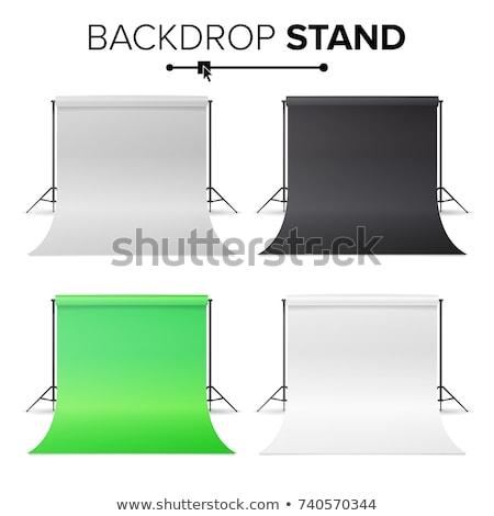 Empty Photo Studio Hromakey Vector. Modern Photo Studio. Green Backdrop Stand Tripods. Isolated Illu Stock photo © pikepicture