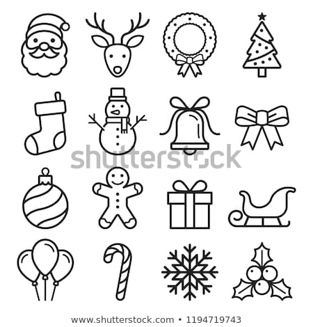 Ingesteld christmas icon vector Rood Stockfoto © frescomovie