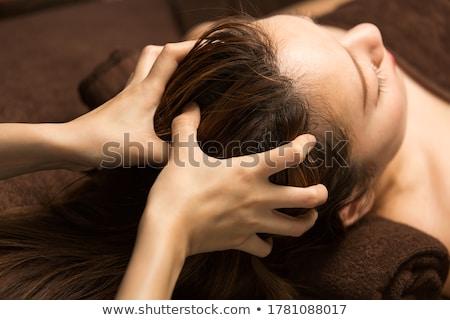 Foto stock: Mulher · cara · massagem · toalha · estância · termal · pessoas