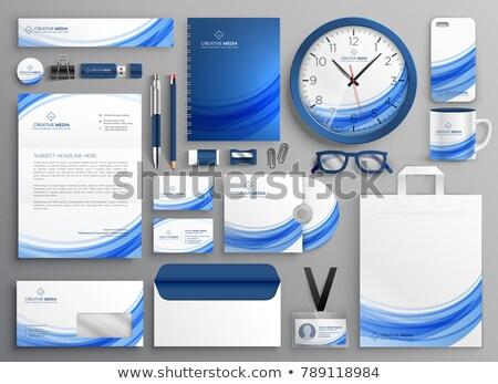 марка личности бизнеса канцтовары набор синий Сток-фото © SArts