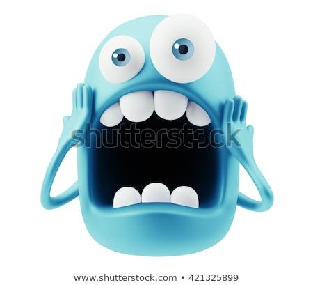 нервный Cartoon смешное лицо паника изолированный белый Сток-фото © hittoon