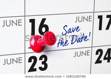 ściany kalendarza czerwony pin 16 urodziny Zdjęcia stock © Zerbor