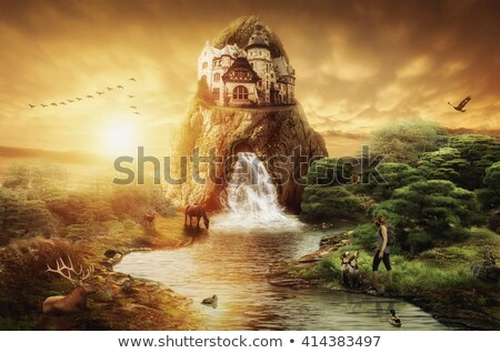 The Palace in the evening with reflection from pond. Stock photo © yhelfman