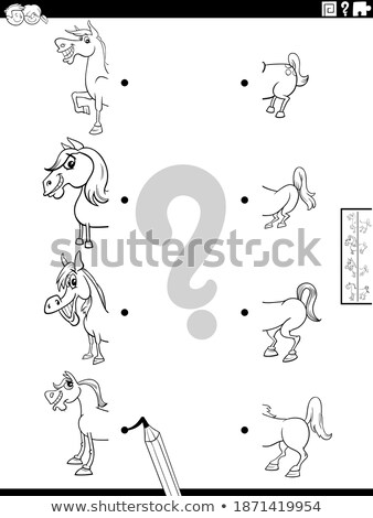 match halves of pictures of animals game color book Stock photo © izakowski