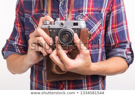 férfias · barna · hajú · férfi · 30-as · évek · borosta · fehér - stock fotó © deandrobot