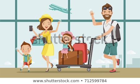 parents and children traveling with suitcases vector isolated illustration stock photo © pikepicture