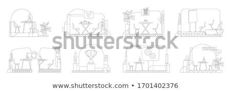 Local de trabalho linear estilo ilustração conjunto cadeira de escritório Foto stock © robuart