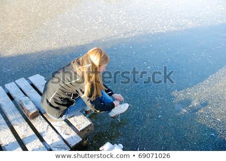 kadın · ayakkabı · oturma · ahşap · zemin · kadın - stok fotoğraf © piedmontphoto
