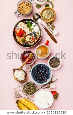 reggeli · gabonafélék · joghurt · kettő · tálak · fehér - stock fotó © mythja