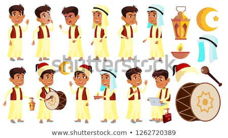 Arab, Muslim Boy Schoolboy Kid Poses Set Vector. Primary School Child. Student Expression. Lifestyle Stock photo © pikepicture