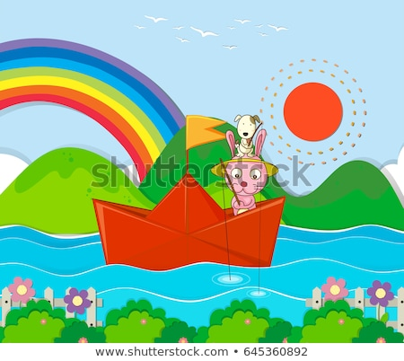 Rabbit fishing in paperboat in the river Stock photo © colematt
