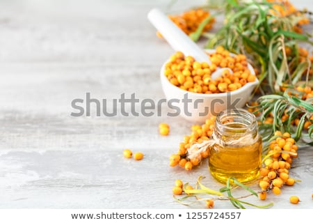 Sea buckthorn oil in a glass bowl with sea buckthorn branches Stock photo © madeleine_steinbach