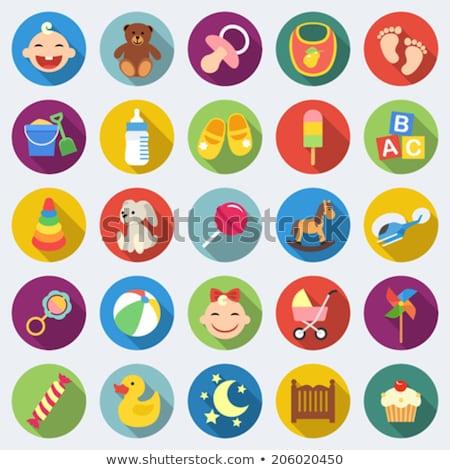 baby flat vector icon set stock photo © smoki