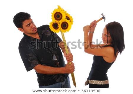 Nő férfi kalapács képregény rajz pop art Stock fotó © rogistok