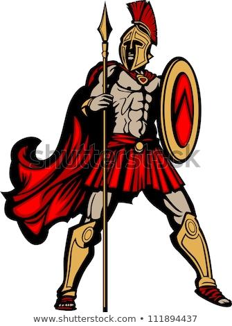 Spartaans trojaans sport mascotte krijger hand Stockfoto © Krisdog