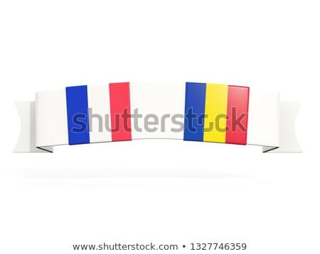 Banner dos cuadrados banderas Francia Rumania Foto stock © MikhailMishchenko