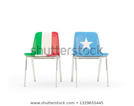 Photo stock: Two Chairs With Flags Of Italy And Somalia
