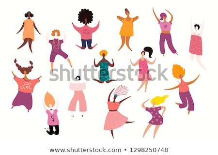 Szczęśliwy różnorodny kobiet taniec dzień kobiet strony Zdjęcia stock © cienpies