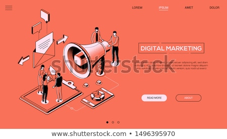 Stock photo: Marketing strategy - line design style isometric web banner