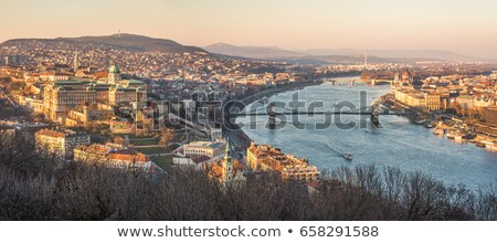 Budapest Danube river waterfront panoramic view from above Stock photo © xbrchx